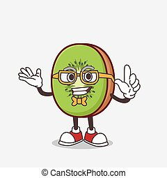 Kiwi Fruit cartoon mascot character in geek style