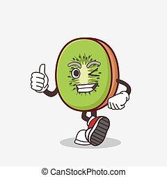 Kiwi Fruit cartoon mascot character making Thumbs up gesture