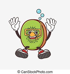 Kiwi Fruit cartoon mascot character wearing Diving glasses