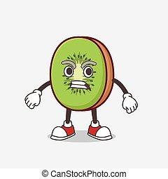 Kiwi Fruit cartoon mascot character with angry face