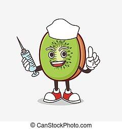 Kiwi Fruit mascot character as nurse with medical syringe