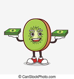 Kiwi Fruit mascot character with money on hands