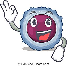 A picture of lymphocyte cell making an Okay gesture. Vector ...