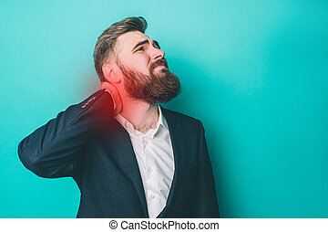 A picture of man that has a pain in the neck. The pain point is marked by red light. Guy is suffering from it. Isolated on blue background.