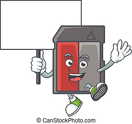 A picture of memory card cartoon character with board