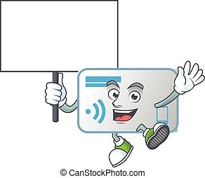 A picture of NFC card cartoon character with board