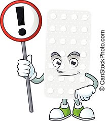 A picture of pills cartoon character concept holding a sign...