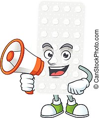 A picture of pills cartoon design style speaking on a ...