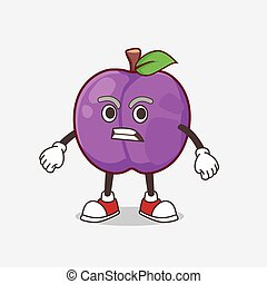 Plum Fruit cartoon mascot character with angry face