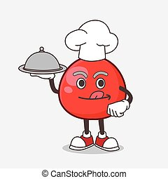 Red Berry cartoon mascot character as a Chef with food on tray ready to serve