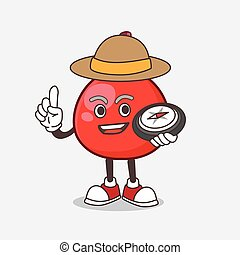 Red Berry cartoon mascot character having a compass