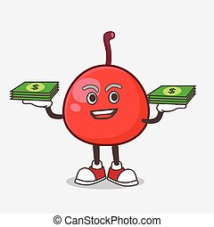 Red Berry cartoon mascot character with money on hands