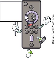 A picture of remote control TV cartoon character with board
