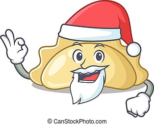 A picture of Santa pierogi mascot picture style with ok finger