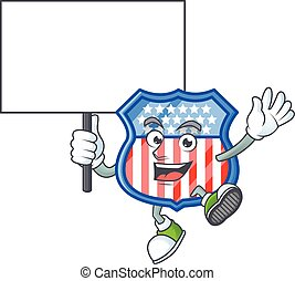 A picture of shield badges USA cartoon character with board