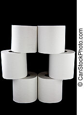 A picture of six toilet paper rolls stacked on top of eachother