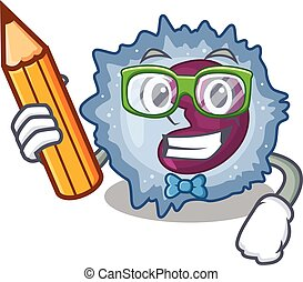 A picture of Student monocyte cell character holding pencil...