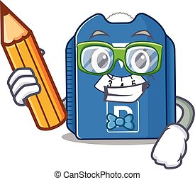 A picture of Student parking disc character holding pencil. ...