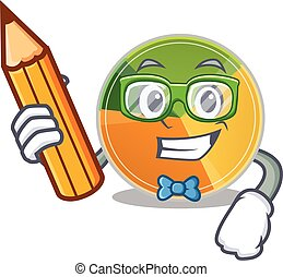 A picture of Student pie chart character holding pencil