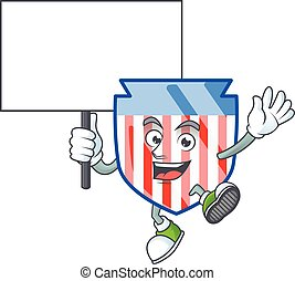 A picture of USA stripes shield cartoon character with board