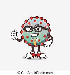 Virus cartoon businessman mascot character wearing tie and glasses