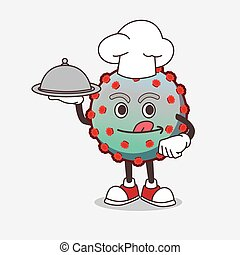 Virus cartoon mascot character as a Chef with food on tray ready to serve