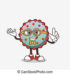 Virus cartoon mascot character in geek style