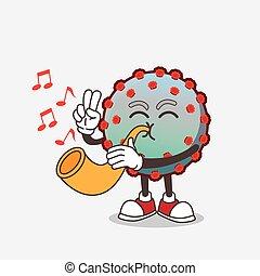 Virus cartoon mascot character playing music with trumpet