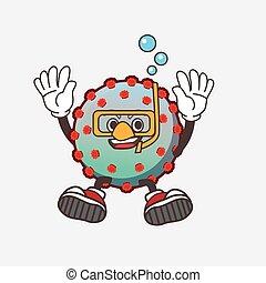Virus cartoon mascot character wearing Diving glasses