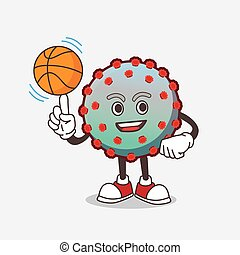 Virus cartoon mascot character with a basketball