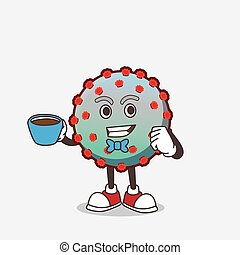 Virus cartoon mascot character with a cup of coffee