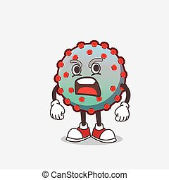 Virus cartoon mascot character with angry face