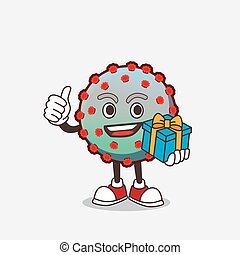 Virus cartoon mascot character with gift