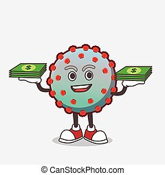 Virus cartoon mascot character with money on hands