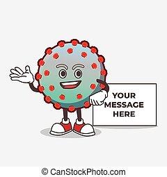 Virus cartoon mascot character with whiteboard