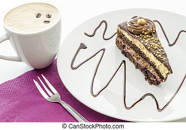 A piece of cake and coffee