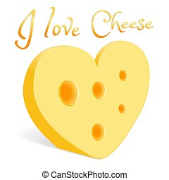 A piece of cheese in the form of a heart