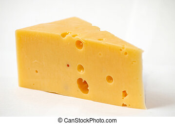 cheese - A piece of cheese on a white background
