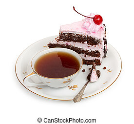 A piece of chocolate cake with cherry cream and canned ...