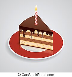 A piece of chocolate cake with one candle on a saucer. Celebrating the birthday of 1 year. The food is sweet. Isometric Piked. Isolated vector illustration on white