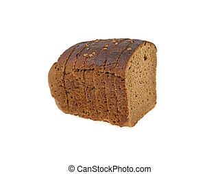 a piece of dark bread on a white background