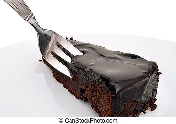 A piece of dark chocolate cake