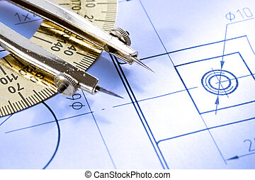 A piece of draft with drafting instrument