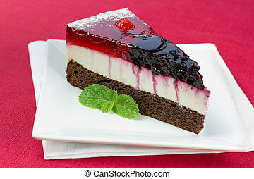 A piece of forest fruit cake