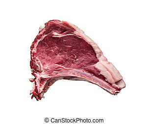 a piece of fresh raw meat on white background