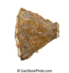 A piece of fried flounder isolated on a white background.