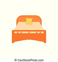 A piece of furniture for the bedroom to use as a place to sleep, bed. Vector illustration isolated background.