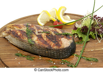 a piece of grilled salmon