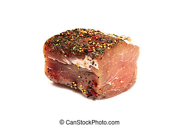 A piece of juicy meat with seasoning, isolate