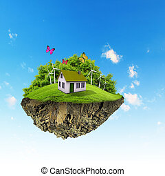 A piece of land in the air with house and tree. - Little...